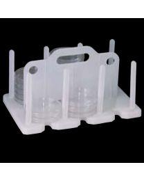 Rack per incubazione e trasporto di piastre di Petri da 90 a 100 mm.