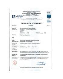 Certificato de calibrazione Radwag